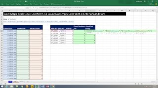 Excel Magic Trick 1369: COUNTIFS To Count Not Empty Cells With 4 Criteria/Conditions