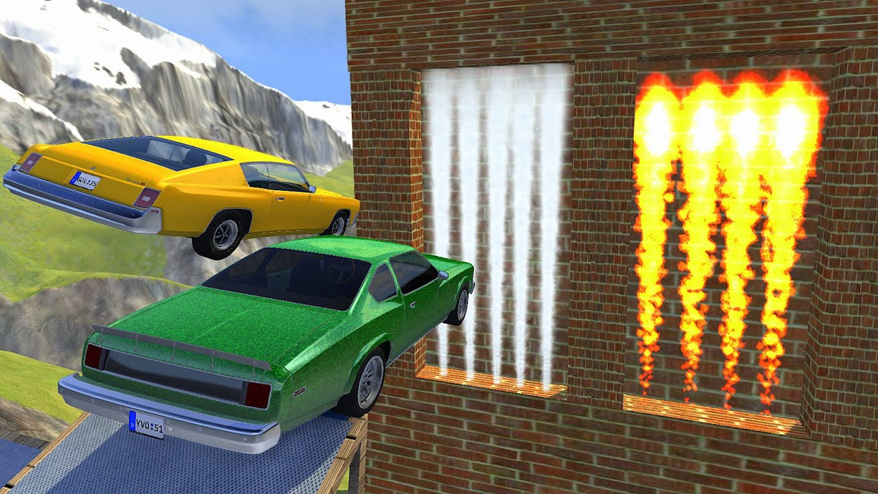 High Speed Jump Through FIRE Wall Or FREEZE Gas Wall - BeamNG drive Crazy Jumps