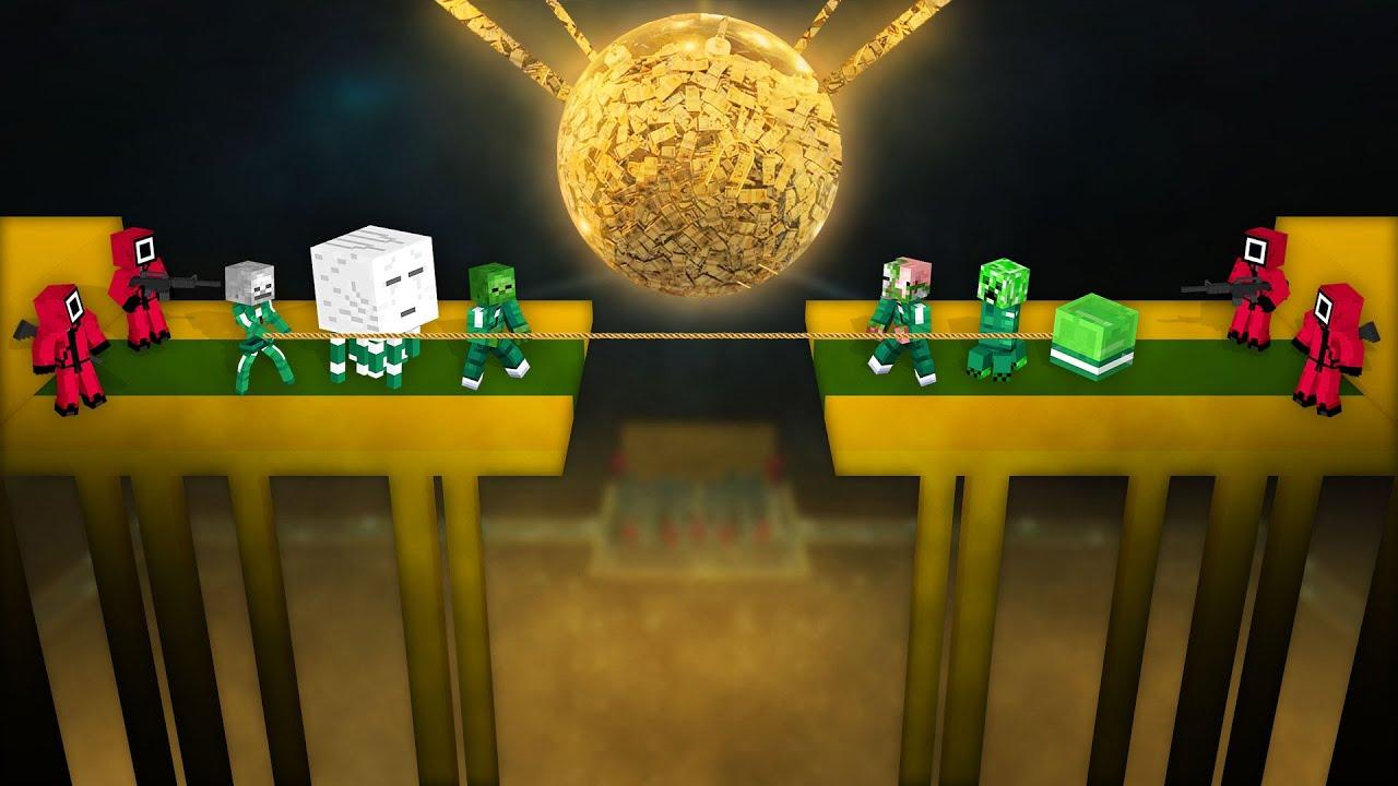 Monster School: Squid Game Tug Of War Challenge - Minecraft Animation
