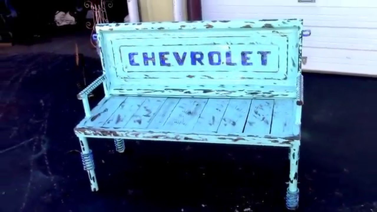 Old repurposed truck tailgate bench auto parts furniture Custom furniture made car parts