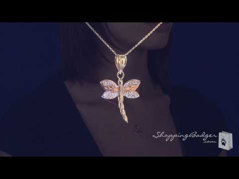 Small 14K White, Yellow, & Rose Gold Dragonfly Necklace, 17
