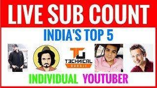 India's Top 5 Individual YouTuber 🔴 LIVE SUB COUNT 🔴 Amit Bhadana VS. BB Ki Vines 🔥🔥🔥