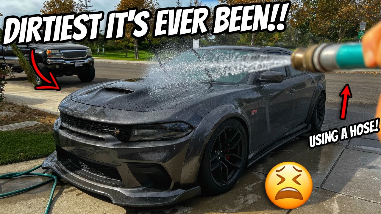 Washing My Dodge Charger WITH A HOSE!! 🥴 Dirtiest It's EVER Been!