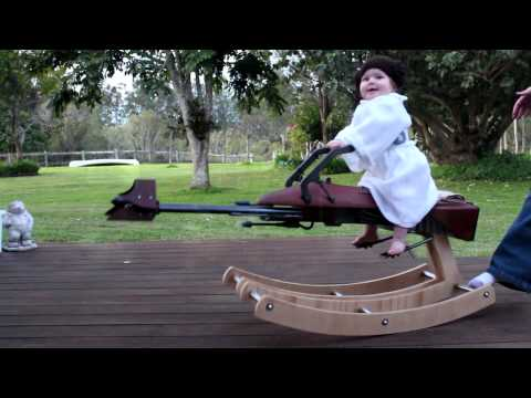 A dad built a rocking horse Star Wars 74-Z Speeder Bike for his daughter. Complete with lights and sound FX