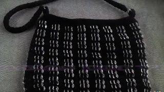 parte 1 de 3 bolsa a crochet con abanicos y anillas de lata
