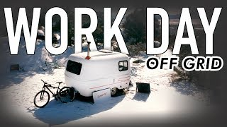 winter-camping-work-day-off-grid-13ft-scamp-trailer