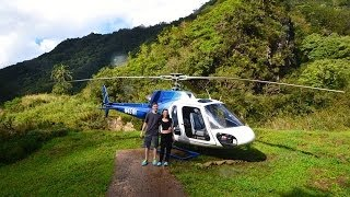 Jurassic Park Falls Helicopter Ride Video of Kauai - Waterfall Landing & Na Pali Coast