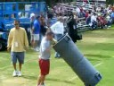 Matt Leinart throws a ball into trashcan