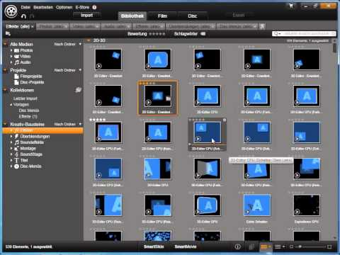 Kollektionen erstellen und verwalten in Avid studio und Pinnacle Studio