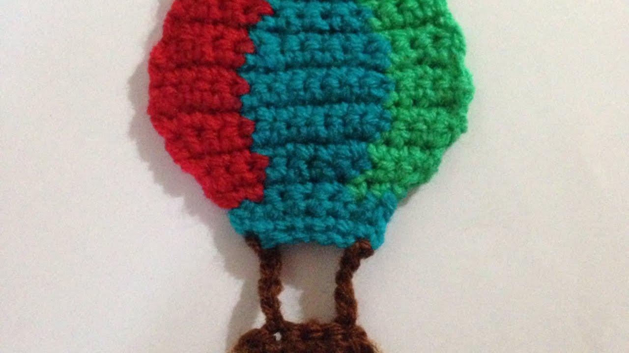 how to crochet a hot air balloon applique for kids   diy