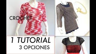 SUETER, BLUSA O CHALECO CORTO O LARGO Tejido Crochet DIY
