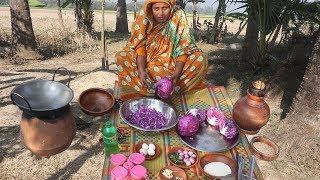Farm Fresh Red Cabbage Bora Recipe Purple Cabbage Harvesting & Patties Cooking Organic Village Food