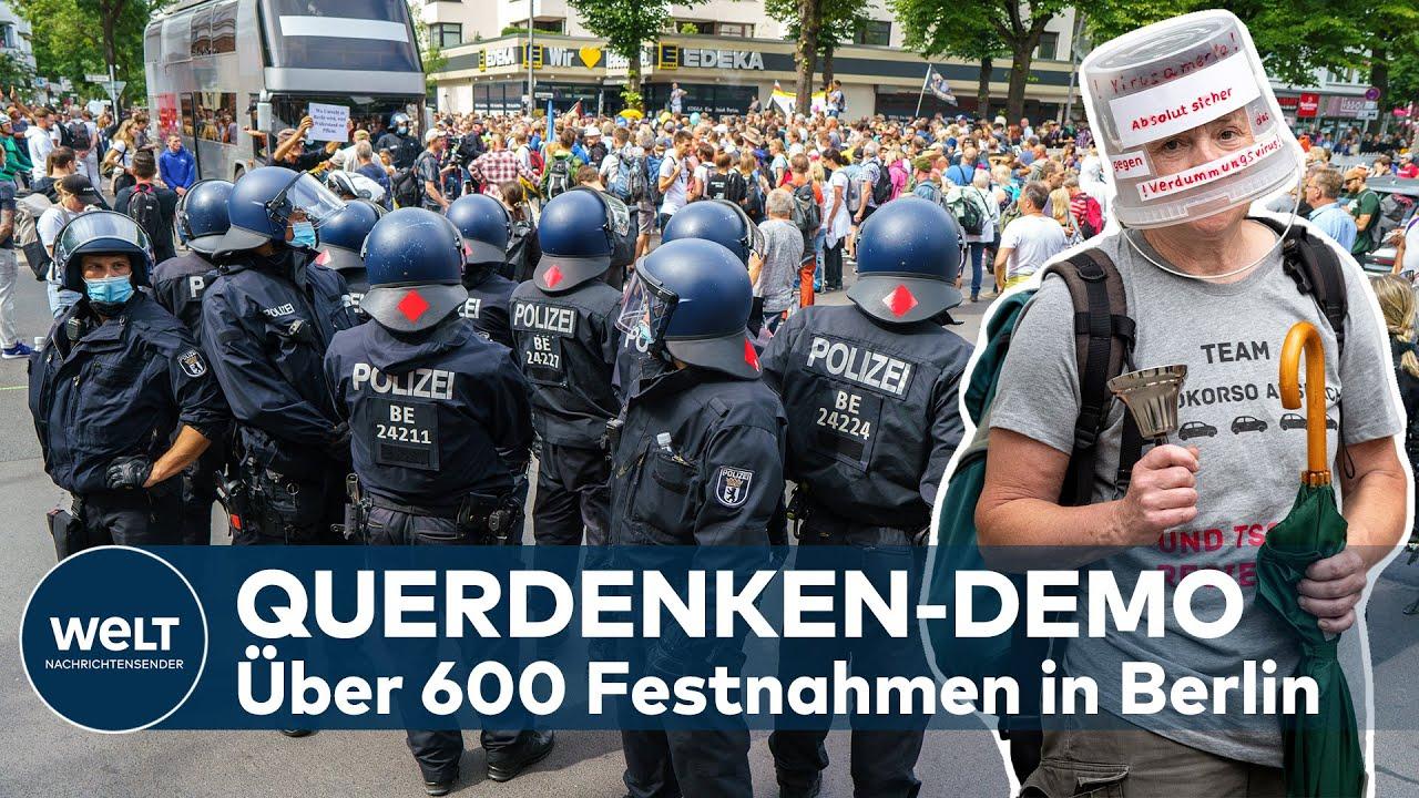 Download QUERDENKEN in BERLIN: Mann stirbt nach Demo - Polizei meldet über 600 Festnahmen