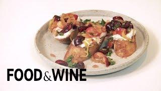 Stephanie Izard's Marinated Cherry Bruschetta | Cooking While Traveling | Food & Wine