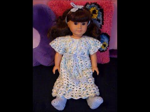 Bedtime For Dolls Nightgown Sash Headband For 18 Dolls Crochet