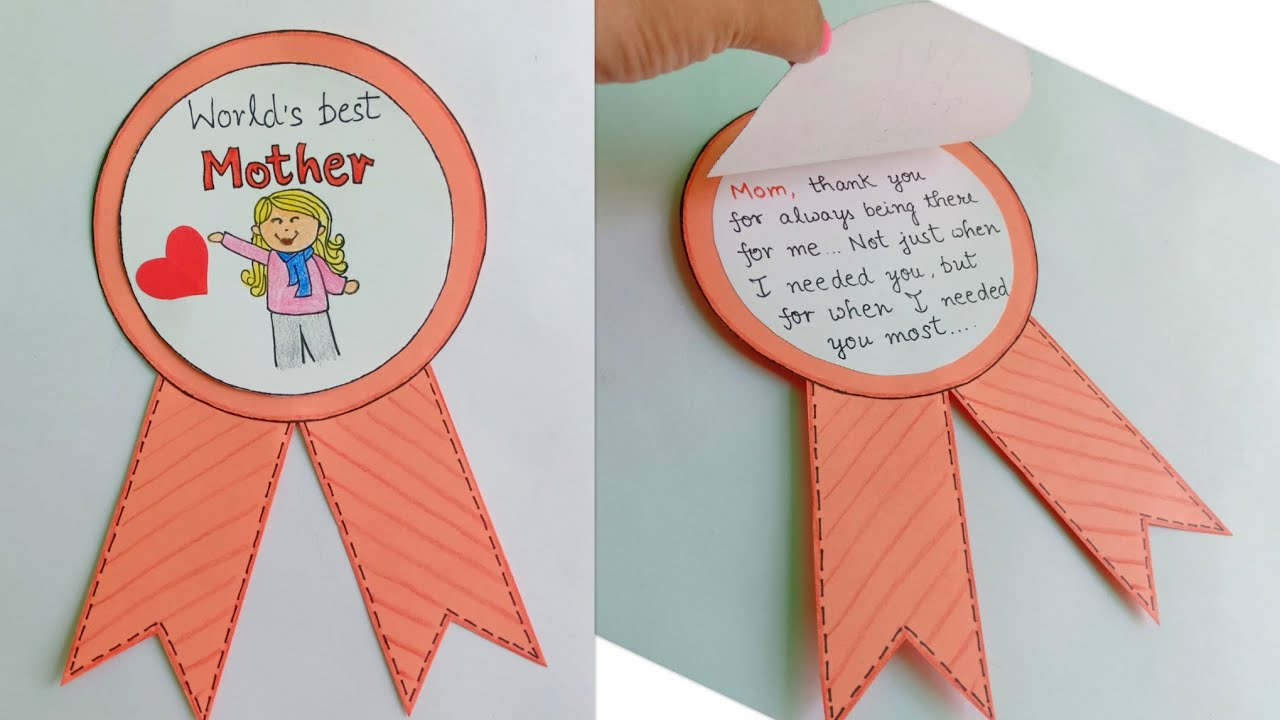 World's Best Mother Card/Mother's Day Badge Card/Unique Handmade Card Idea  for Mom/Gift Idea for Mom
