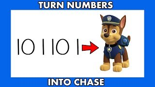 Paw Patrol ! How To Draw Chase From Numbers 101101 For Kids
