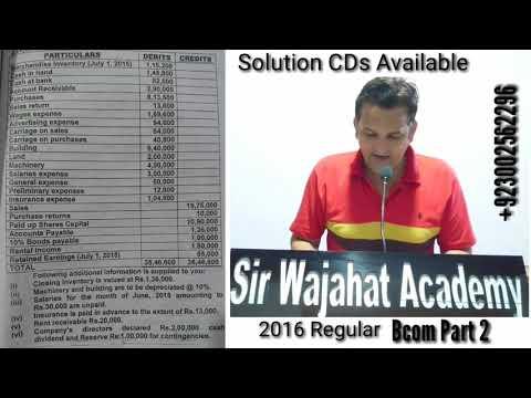Financial Statement, Bcom Part 2, Advance Accounting, Karachi University, Bcom Past Papers Solutions