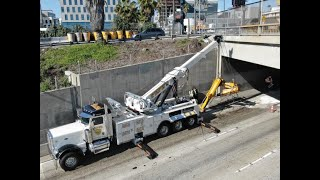 Using a 75ton rotator to recover a crane arm that hit a bridge on Hollywood 101 Freeway!