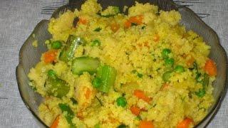 Теплый салат из кускус с овощами