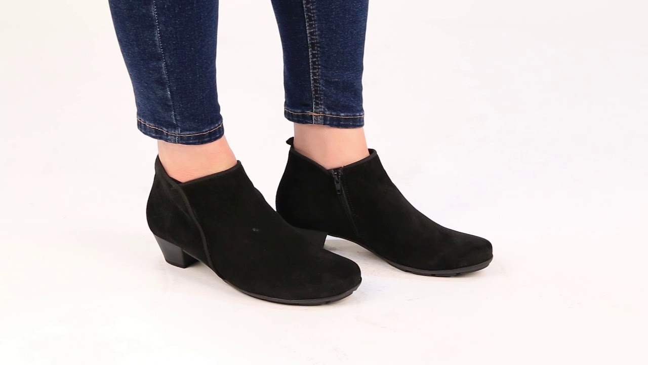 Gabor Trudy Womens Black Suede Ankle Boots