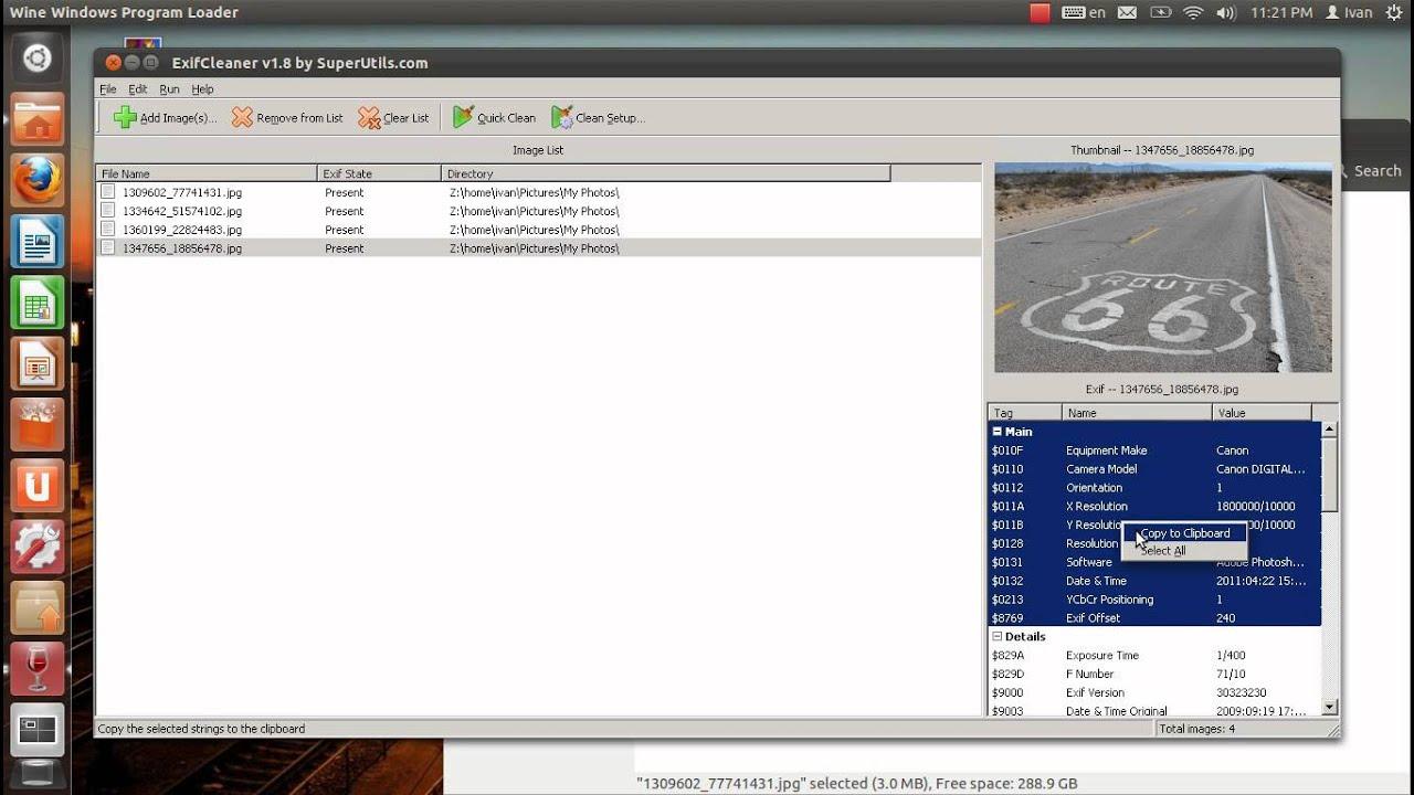 SuperUtils Bulk EXIF Eraser Running on Ubuntu GNU/Linux + Wine 1 4 (Windows  Software Testing)
