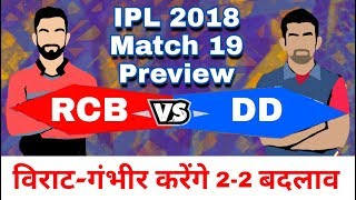 IPL 2018 : Match 19 | RCB vs DD : Match Preview,Playing 11 and Prediction