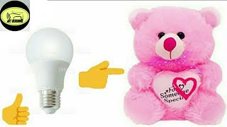 #79 How to make Teddy bear with bulb and cotton...🐭🐭 ||DIY||👍👍