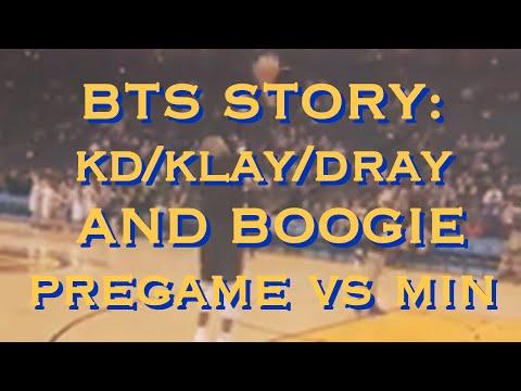 BTS [9:16]: KD (Durant), Klay, Draymond & Boogie pregame Warriors (18-9) vs Minnesota Timberwolves