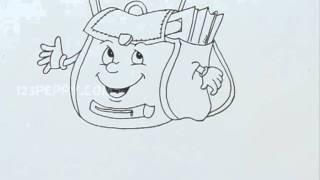 How to Draw a Cartoon School Bag