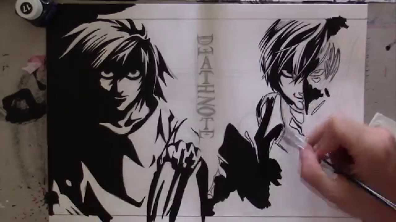 Speed Drawing L And Kira Death Note Youtube