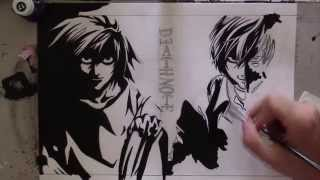 Speed drawing L and Kira  Death Note