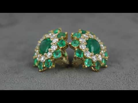 Золотые серьги с изумрудом и бриллиантами