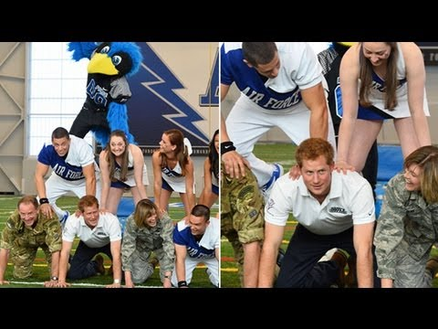 Prince Harry joins US Airforce's football cheerleading squad