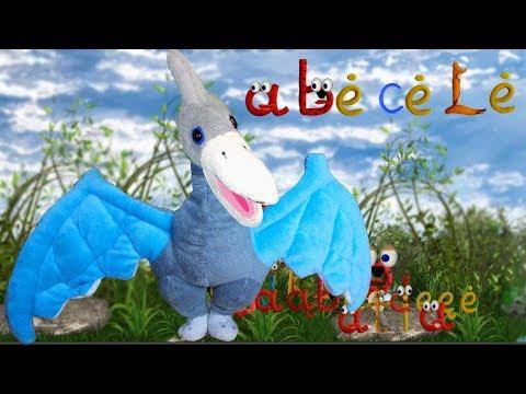 Abėcėlė su dinozauru. Lietuvių kalba.