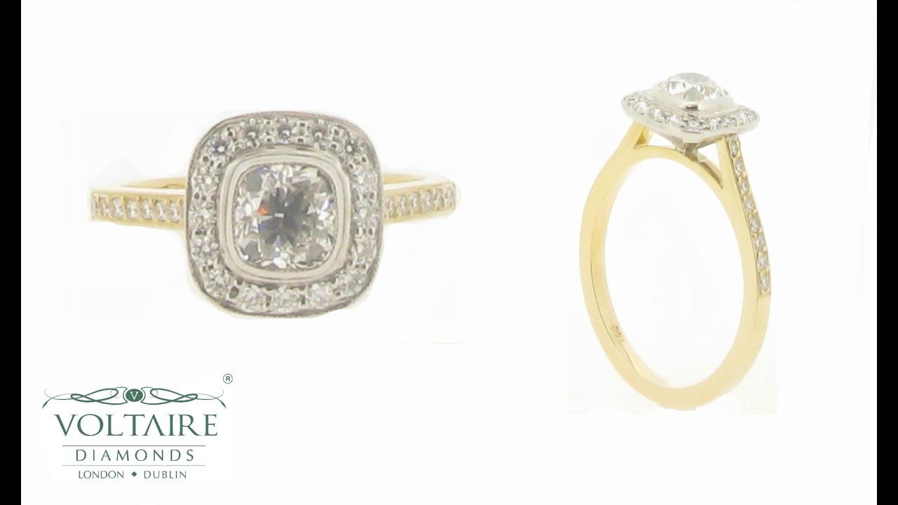 Yellow Gold Cushion Cut Bezel Set Diamond With Pave Halo Er 2068 Voltaire  Diamonds  Engagement Rings Dublin