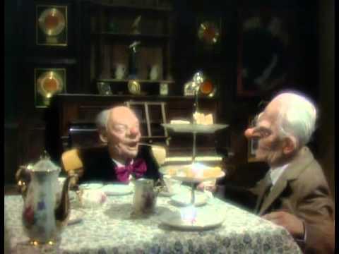 Dear, dear Larry and dear, dear Johnny have tea. Spitting Image sketch