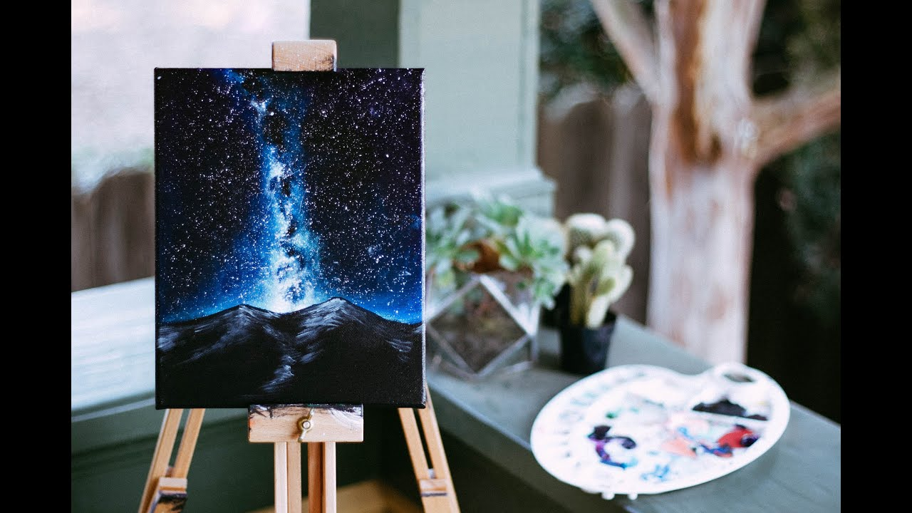 Constellation night sky speed painting youtube for Black painting ideas