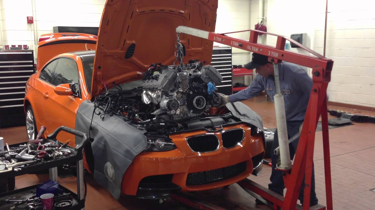 Superior BMW E92 M3 Engine Removal For DINAN Stroker 4.6L   YouTube