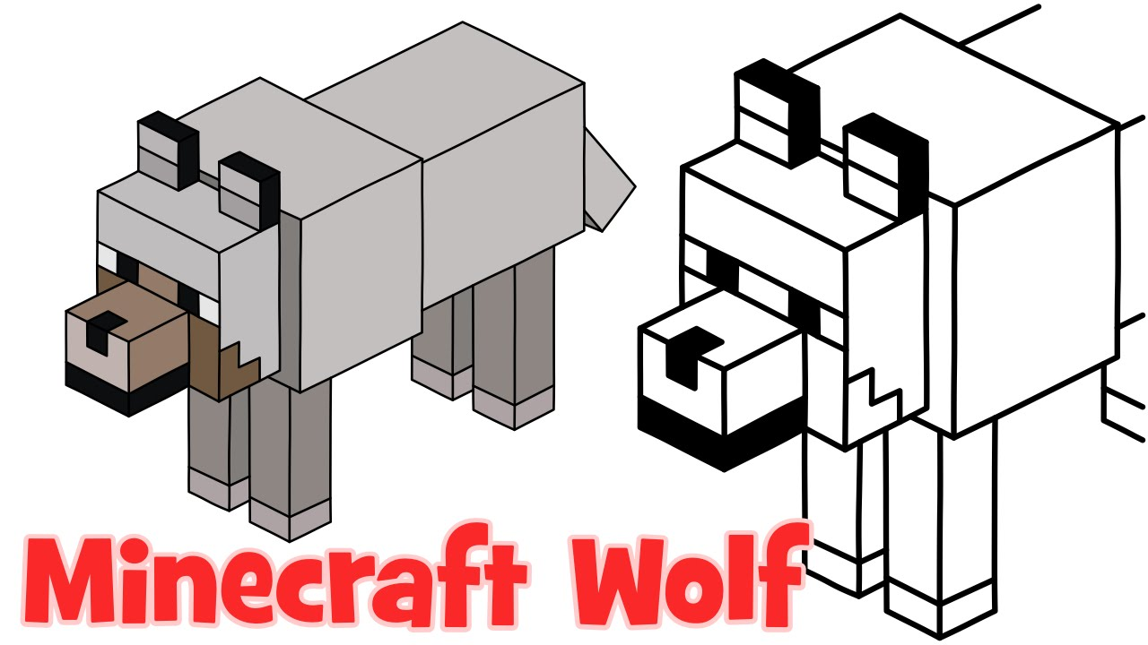 How To Draw Minecraft Wolf Step By Step Easy Drawing For Kids And Beginners