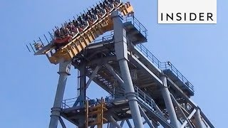Roller Coaster Tilts at a 90-Degree Angle