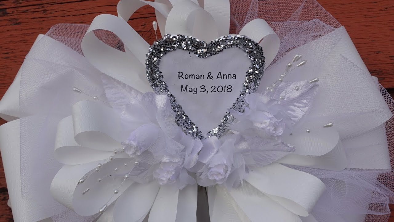 Making Personalized Bow Out Of Tulle and Ribbon - YouTube