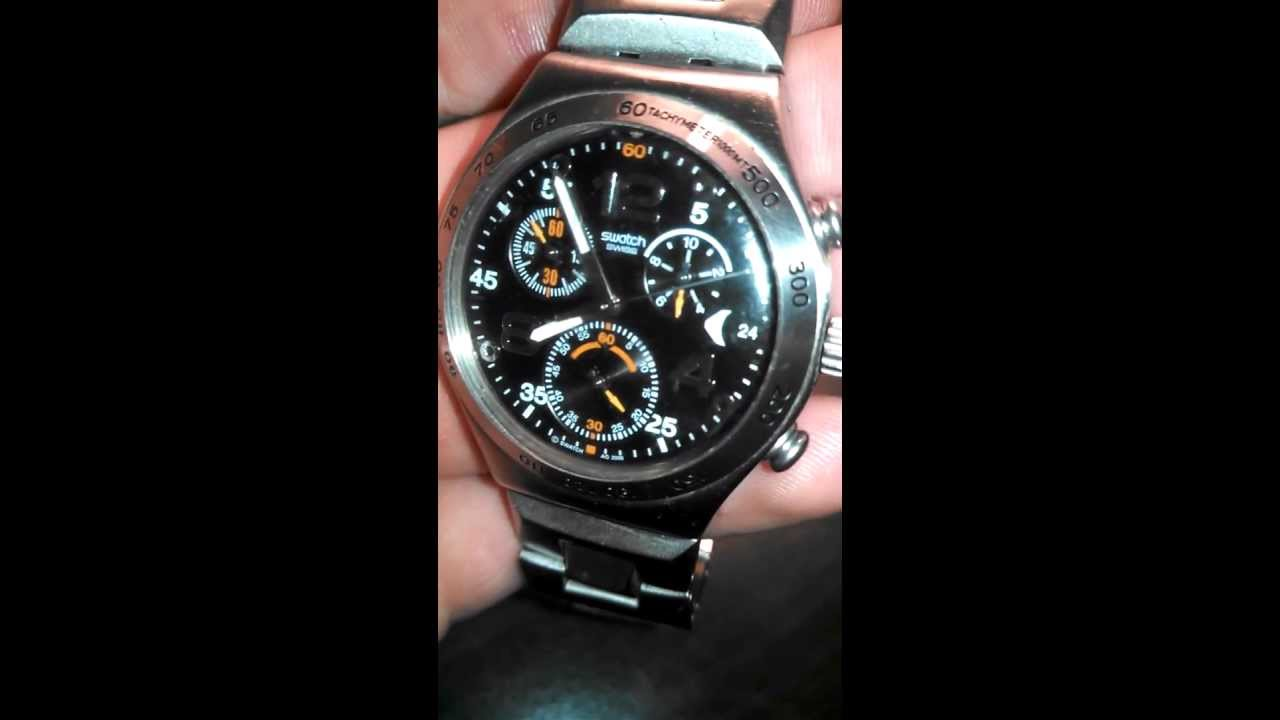 d0f3cabece7 Swatch Irony stainless steel water resistant watch - YouTube