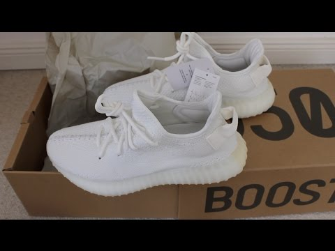 7cda6b6cfd4 Original Adidas Yeezy Boost 350 V2 Cream white all white Vergleich zu Fakes  Real vs Fake Comparison