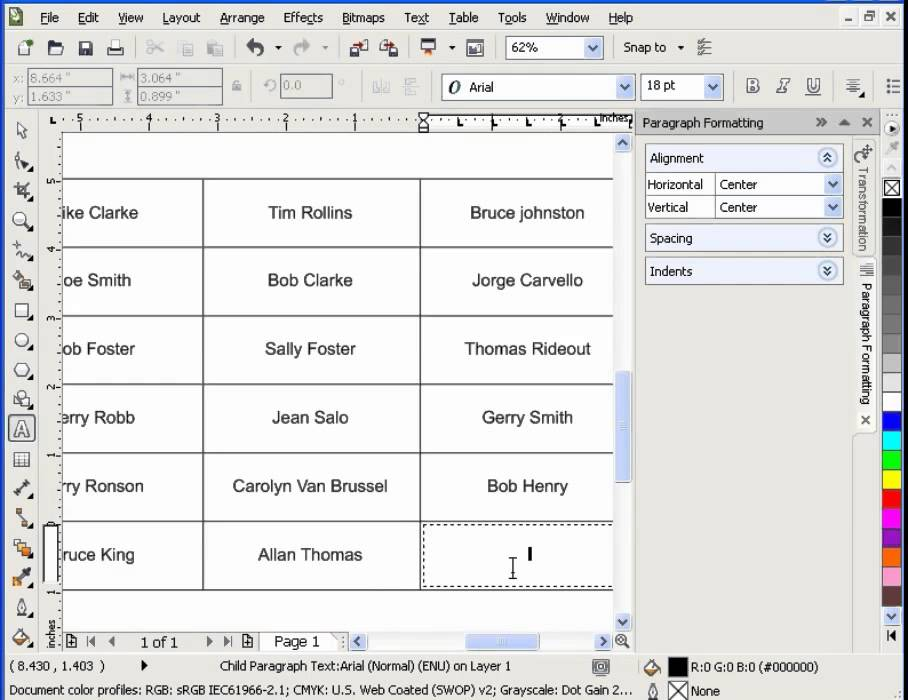 Working With Tables in CorelDraw