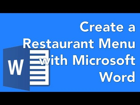 How to make a menu in MS word - YouTube