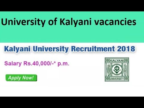 Kalyani University Recruitment 2018-19, University of Kalyani vacancies 2018