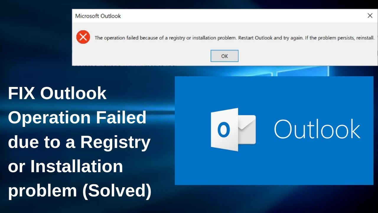 How To FIX Outlook Operation Failed due to a Registry or Installation  problem (Solved)
