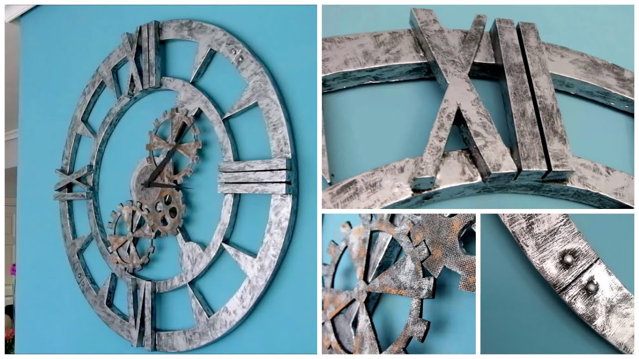 Diy wall clock industrial decor style how to make steel - Relojes de pared originales decoracion ...