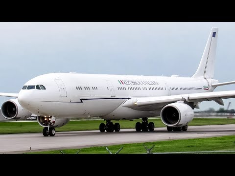 Italian Air Force (Presidential Flight) A340-500 (A345) landing & departing Montreal (YUL/CYUL)